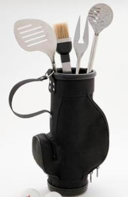 Large Boxed Stainless Steel Golf Barbecue Tool Set.