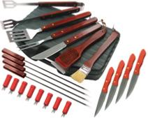 Grill Pro 22 Piece Stainless Steel Tool Set With Steak Knives