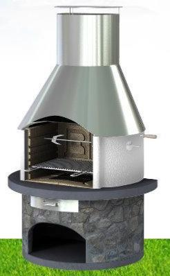 Callow Rondo Masonry BBQ With a Stainless Steel Chimney