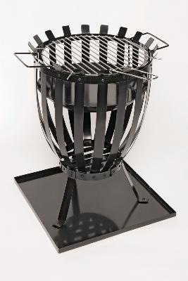 Round Fire Basket BBQ with BBQ Grill