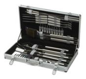 Large 30 Piece Stainless Steel BBQ Tools. Set in an Aluminium Case.