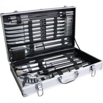 Large 24 Piece Stainless Steel BBQ Tools. Set in an Aluminium Case.
