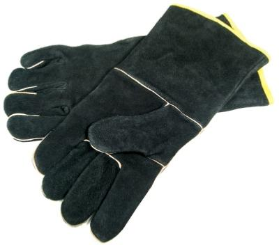 Black Leather BBQ Gloves